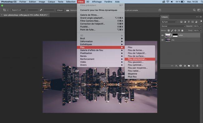 menu filtre flou directionnel
