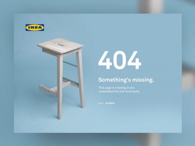 404 page Ikea exemple pour site web