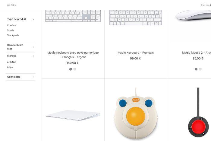 Filtre option Apple Store
