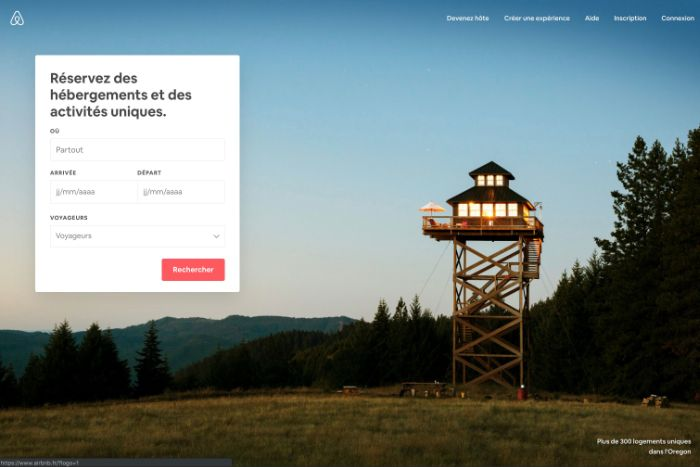 Page accueil Airbnb