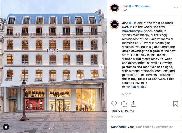 instagram image storytelling Dior