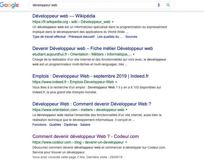 Google moteur de recherche pour sémantique développeur web