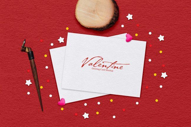 carte de voeux valentine noel jour de l'an mockup free