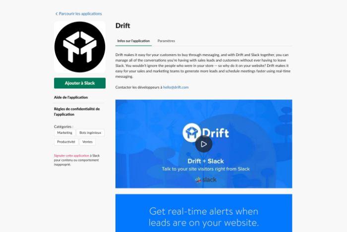 Application Drift pour Slack