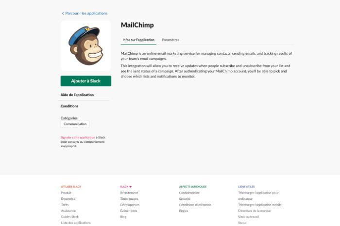Application Mailchimp pour Slack