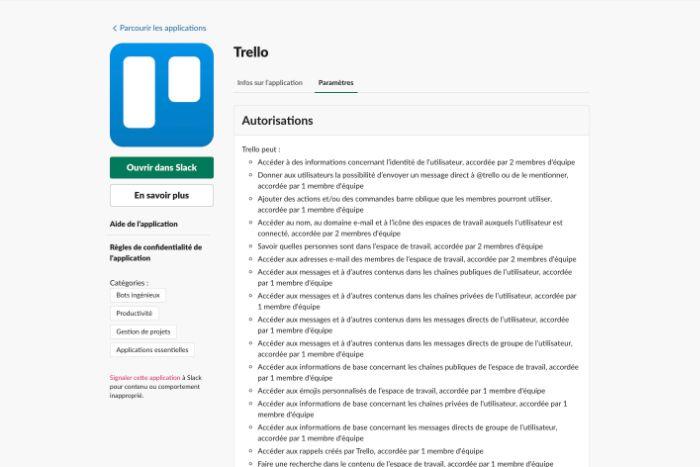 Application Trello pour Slack