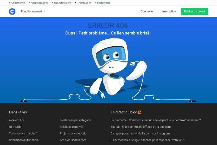 Erreur 404 Codeur.com