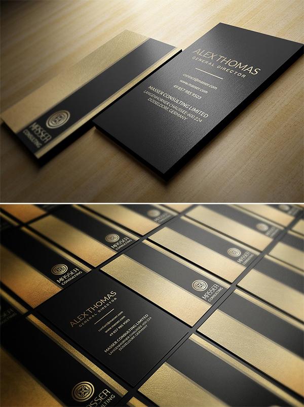 Modèle de carte de visite noir et or chic