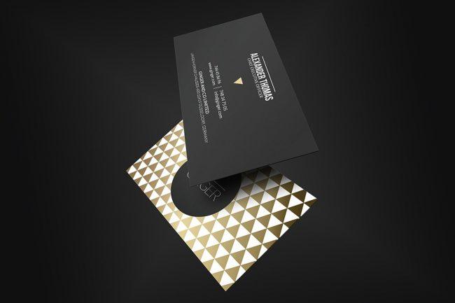 carte de visite gold noir graphiste