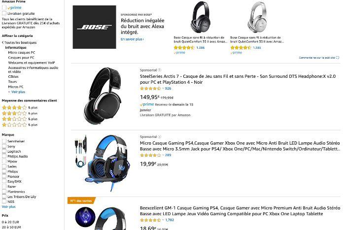 Produits sponsorisés sur Amazon