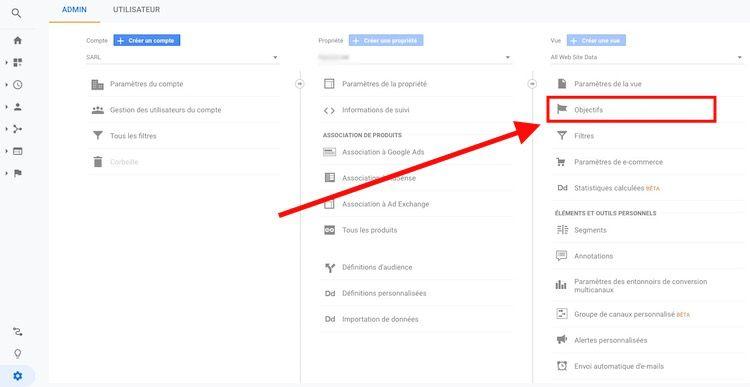 Définir objectif Google Analytics