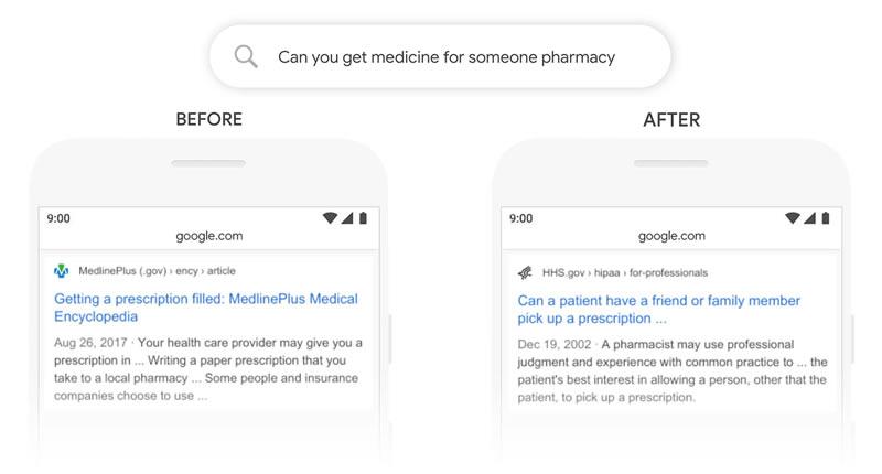 Google BERT seo mise jour exemple requête médecine
