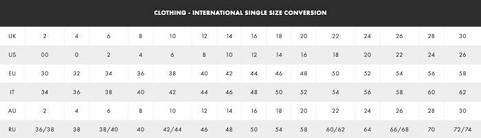guide des tailles international