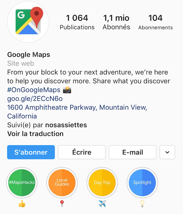 Google Maps story Instagram