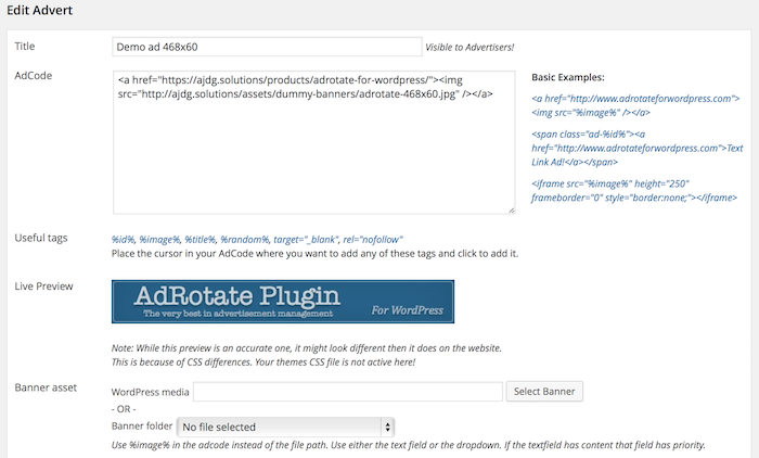AdRotate Plugin gestion pubs WordPress