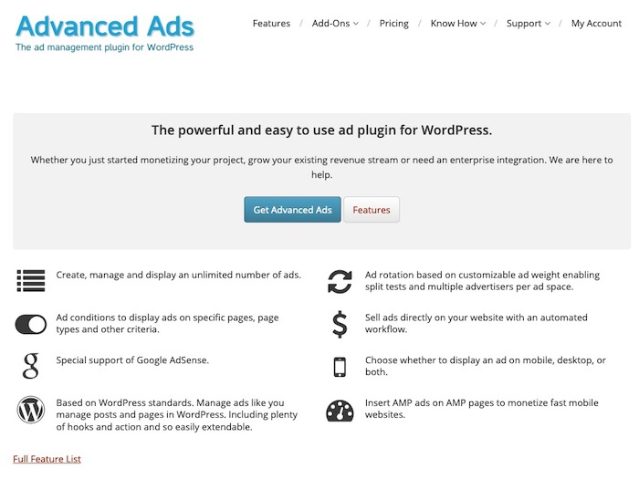 Advanced Ads Plugin gestion pubs WordPress