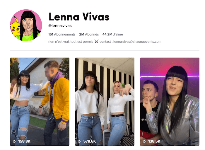 influenceuse TikTok Lenna Vivas