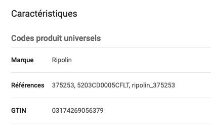 codes produits précis Google Ads shopping e-commerce