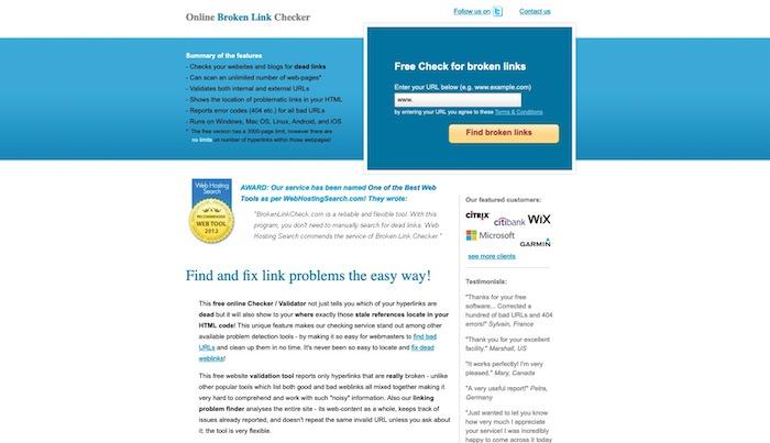 outil vérification liens Broken Link Checker