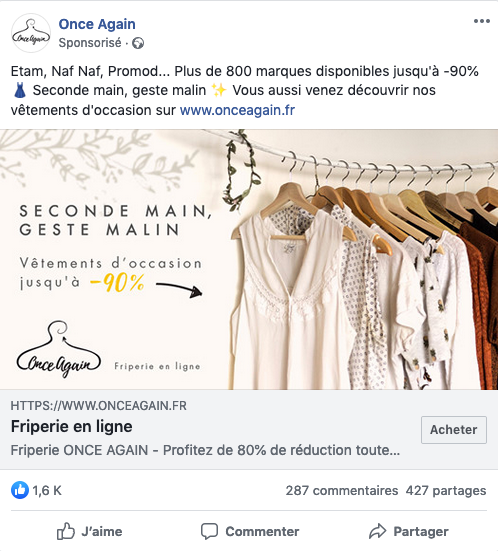 Post sponsorisé Facebook