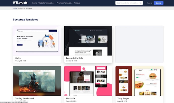 W3layouts, site de templates bootstrap gratuits