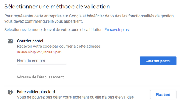 validation compte Google My Business
