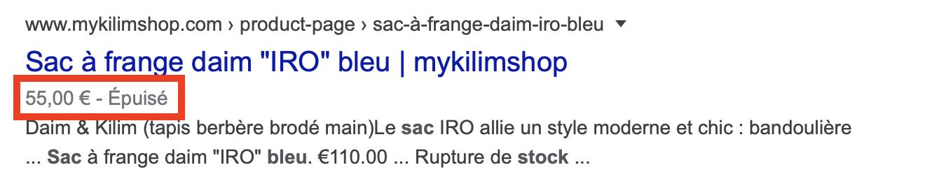 featured rich snippet seo google article épuisé ou en stock