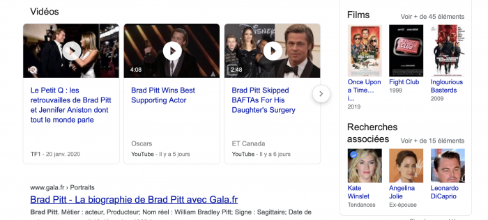 knowledge graph google recherche brad pitt