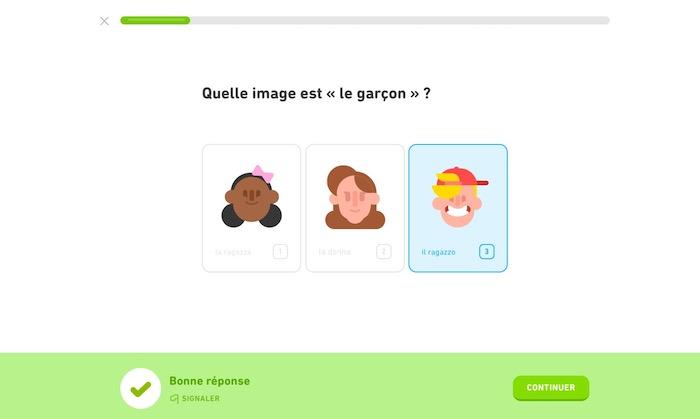 DuoLingo application apprendre langue gratuitement