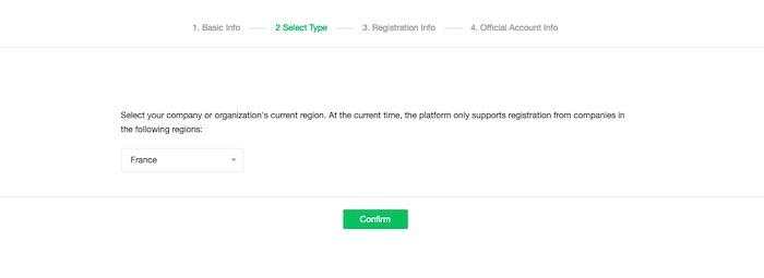 sélection pays inscription WeChat