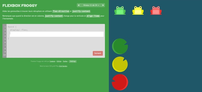 Flexbox Froggy apprendre flexbox CSS