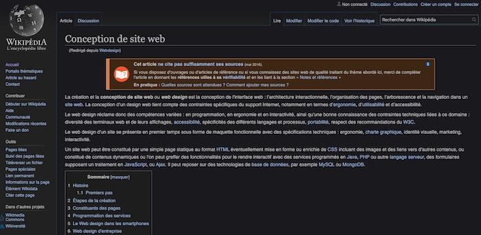 wikipedia mode nuit