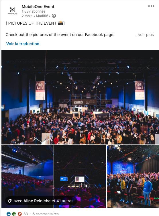 événementiel exemple de contenu réseau sociaux