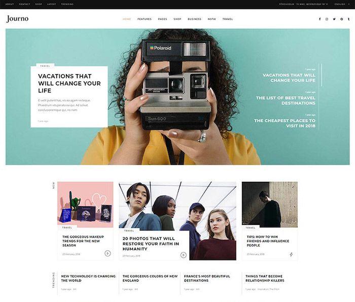 page d'accueil blog