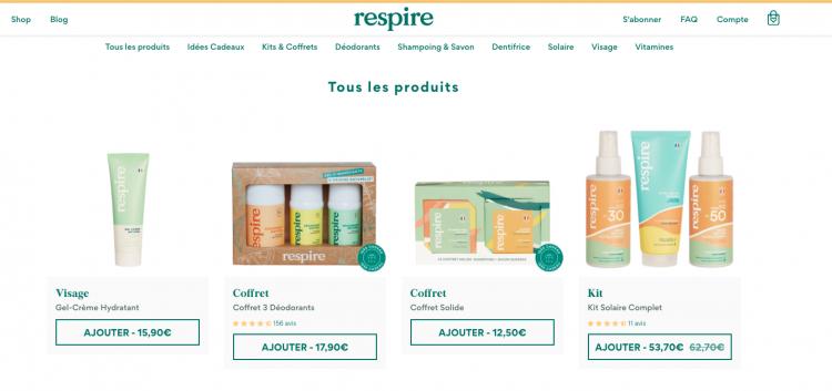 respire site e-commerce shop