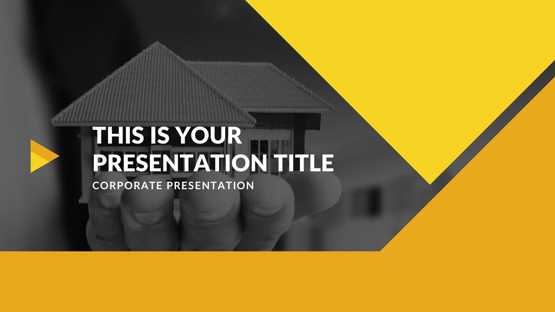 template gratuit pour présentation keynote sur Mac free mockup powerpoint jaune présentation immobilière