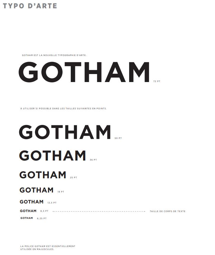 typographie Gotham arte