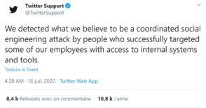 Twitter : piratage massif de comptes certifiés de personnalités, soupçons de complicité en interne