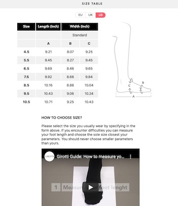 guide des tailles chaussures Girotti