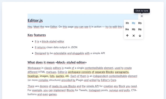 éditeur WYSIWYG EditorJS
