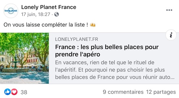 post facebook été