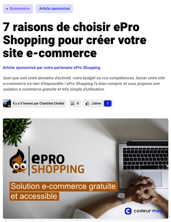 exemple d'article sponsorisé codeur