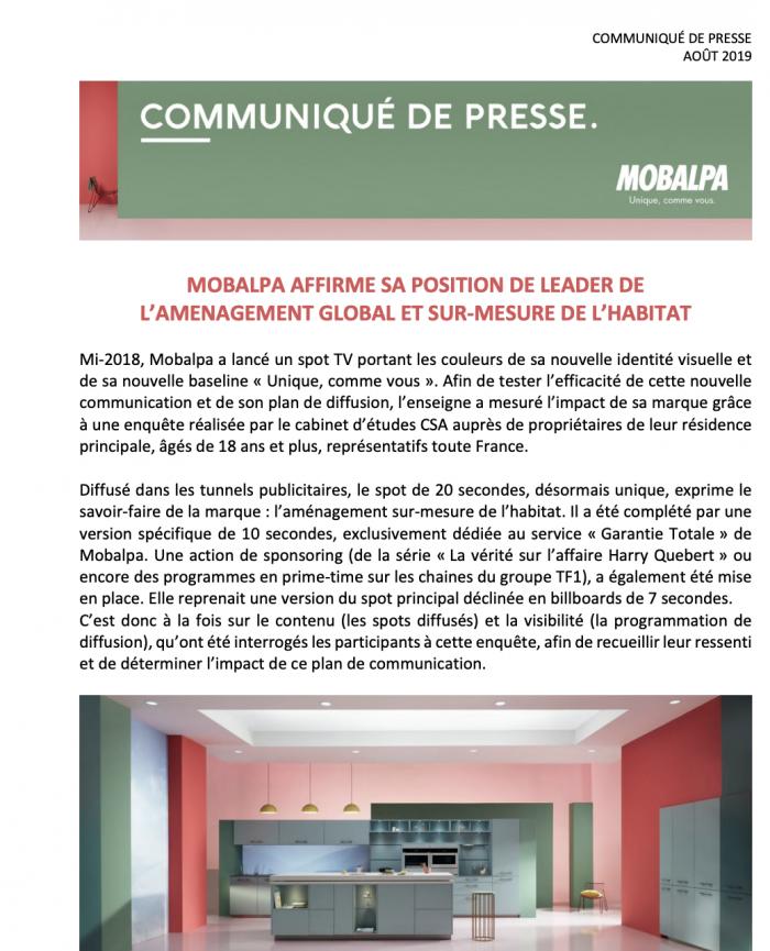 Conseils rédiger communiqué de presse Mobalpa exemple
