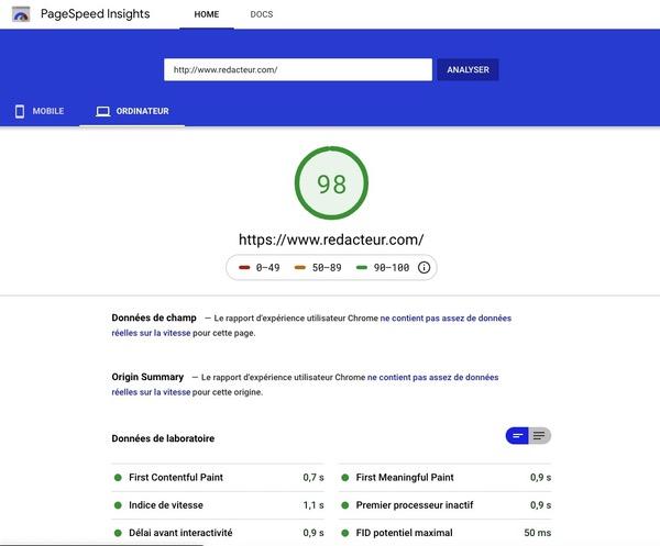 tester la vitesse de votre site