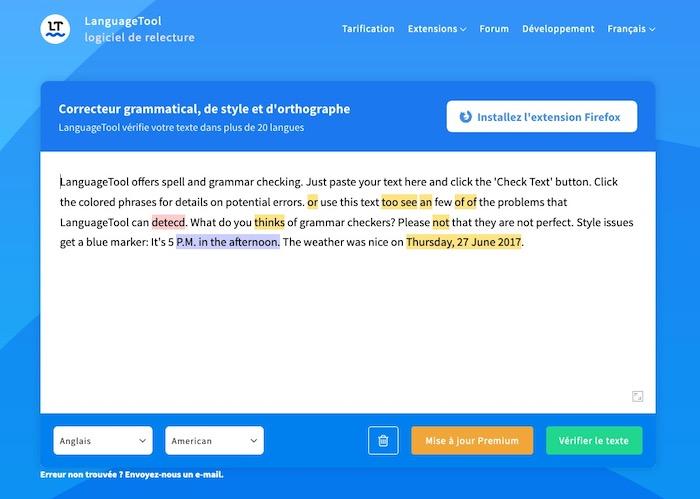 Language Tool correcteur d'ortographe et de grammaire anglais