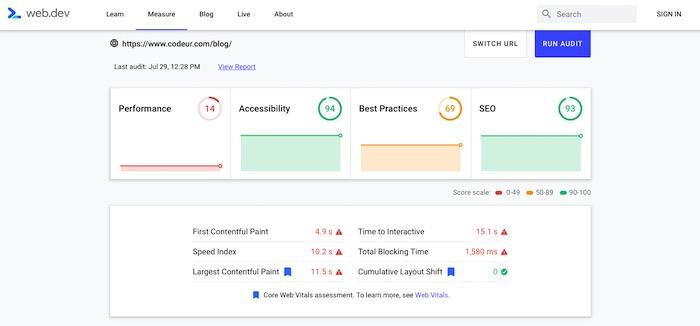 WebDev Core Web Vitals