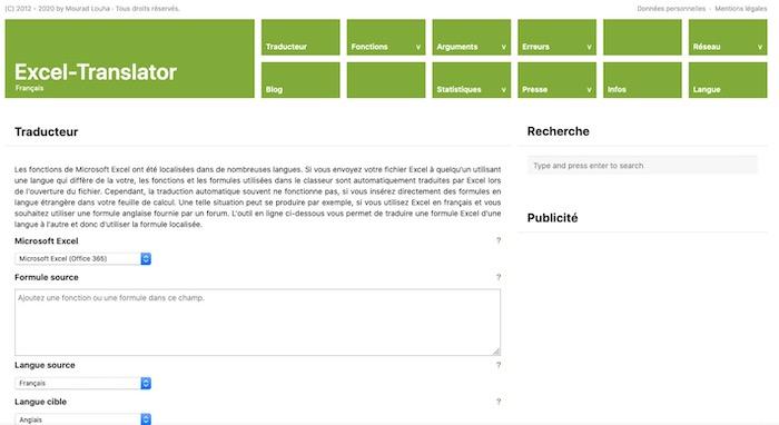 Excel-Translator traduire fonctions excel