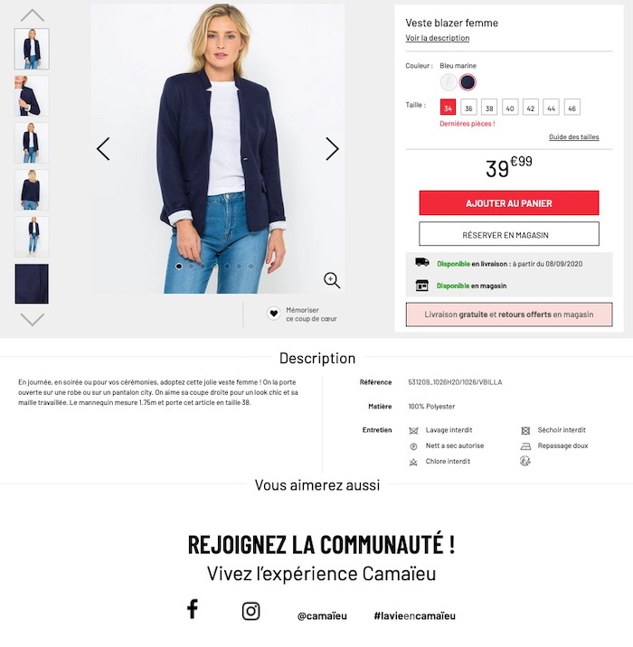 cross-selling raté Camaieu