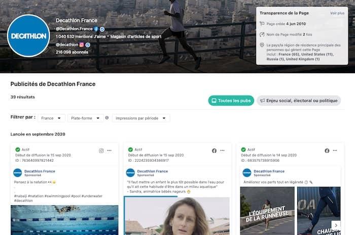 Facebook Ads Library Decathlon France