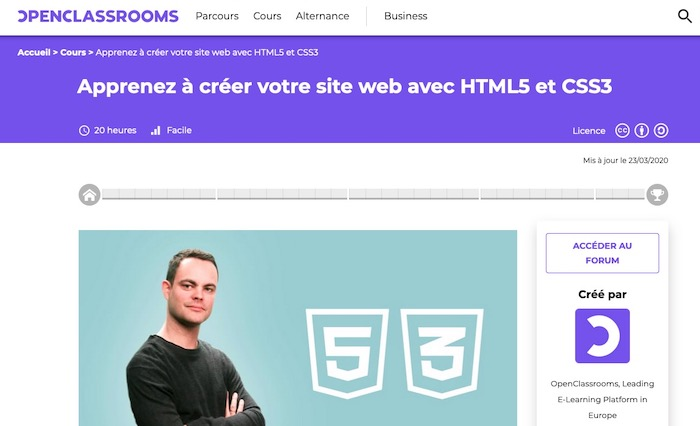 OpenClassroom cours gratuit CSS3